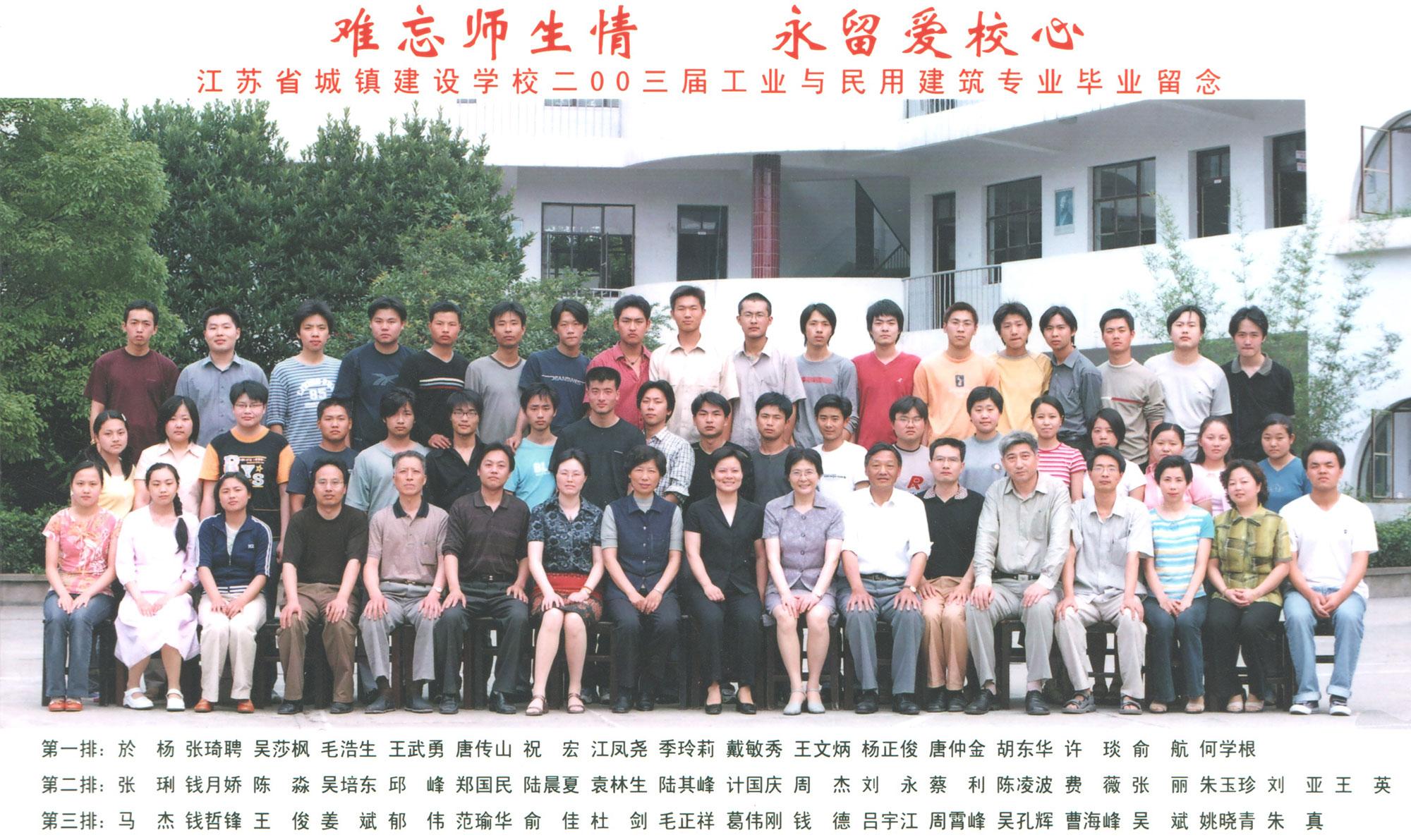 2003届工业与民用建筑专业毕业留...