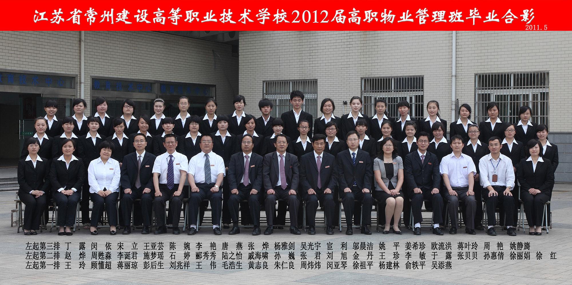 2012届高职物业管理班毕业合影